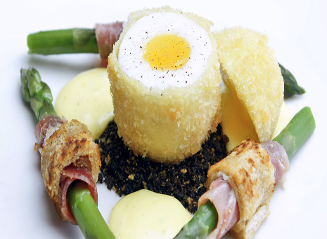 Duck Egg with Asparagus