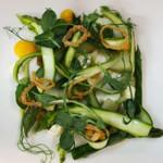 Asparagus, egg yolk, truffle mayonnaise, shallot crisps